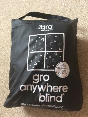 Gro Anywhere Blackout Blind Window Curtain Black 130cm x 198cm Portable Travel