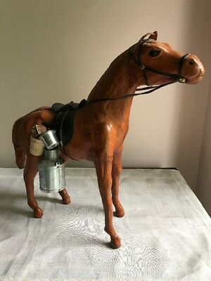 """13"""" Tall Cowboy Leather Horse With Saddle & Accessories ~ Glass Eyes ~ Nice"""