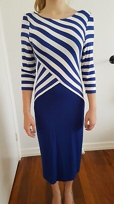 QUEENS PARK Woman Size S 80s -90s Blue and White Stripe Dress.