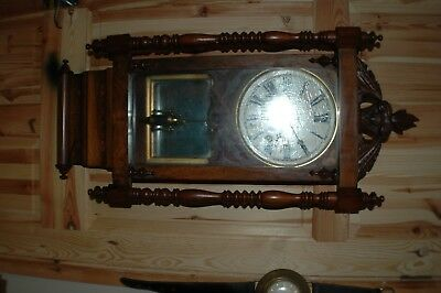 Antique Inlaid MahoganyScroll end American Wall Clock needs somework see listing