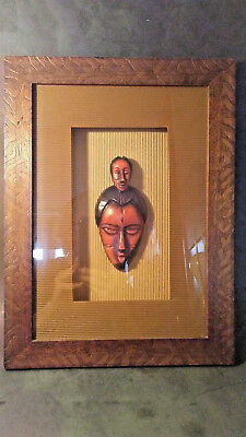 African Art Shadow Box Picture Framed & Matted Woman/Child Voo Doo Tribal VVVGC