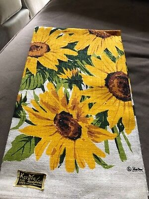 33New with tags Kay Dee Hand Prints Linen Dish Towel Sunflowers