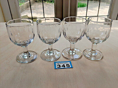 4 Very old Wine Goblets Glasses Antique Drinking Glass Hand Blown Pontil 345