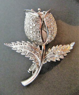 Très belle et rare broche tulipe en or blanc massif 18K et diamants
