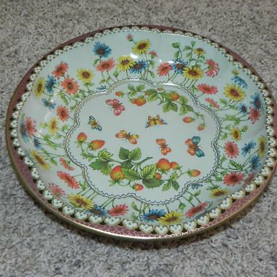 #1418 Vintage 1971 Daher Decorated Ware Orange Butterflies Flowers England Bowl