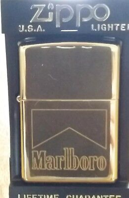 Marlboro Brass Zippo Lighter New In Box Never Fuelled Or Lit COLLECTOR ISSUE