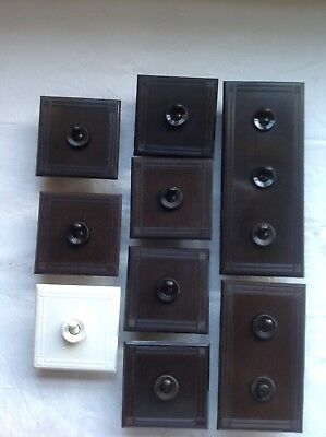 Vintage Art Deco Bakelite Tucker Light Switch 11 Switches 1 Bell Push Reclaimed