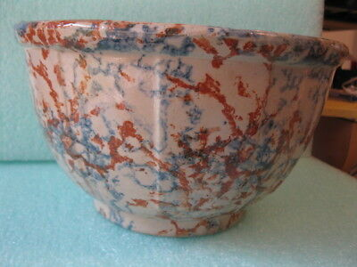 Red Wing #8 Spongeware Panel Bowl  8 1/2 inch diameter 4 3/4 inch tall