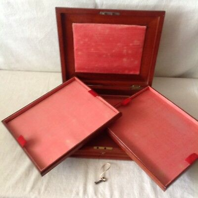 Pretty Antique Jewellery/Collectables Box With Two Trays And Working Key.