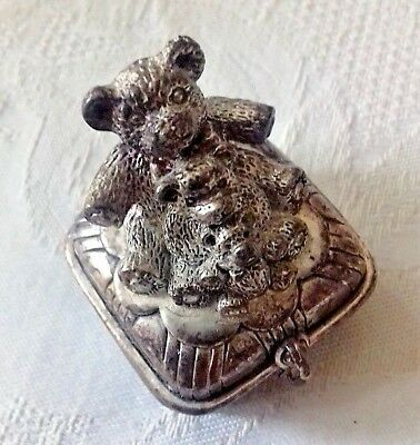 Baby First tooth box teddies - sterling silver - Reduced price