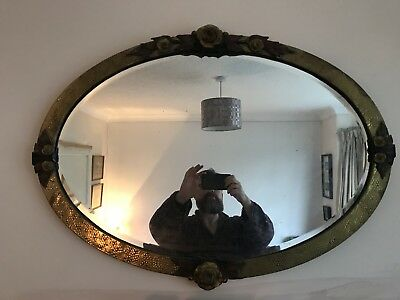*Reduced* Large Arts And Craft Copper Hammer Mantel Mirror