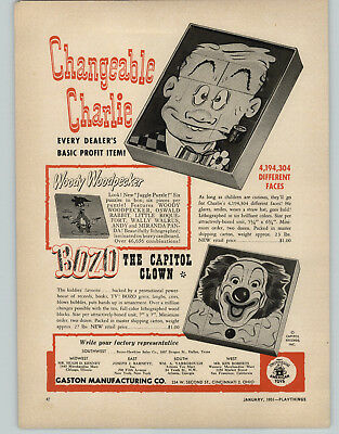 1951 PAPER AD Bozo The Clown Woody Woodpecker Play Block Puzzle Rudolph Reindeer