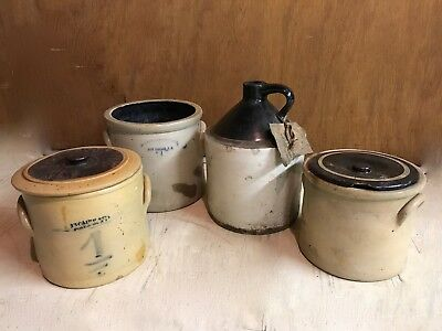 Lot of Stoneware Jug and Covered Crocks