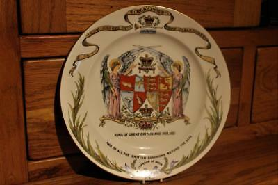 """Antique Shelley Old Foley Coronation 10"""" Display Plate George V Dated 1911"""