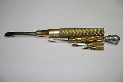 Vintage SPERRY NEW HOLLAND Farm Tractor Advertising Nesting Brass Screwdrivers
