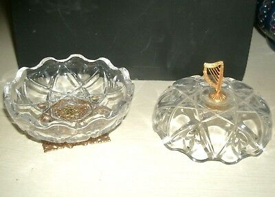 Antique French Crystal Glass Bronze Dore Harp Antoinette Lady Vanity Casket Box