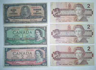 1954 $1, & 1937, 1954 + 1986 $2 Bank of Canada Notes