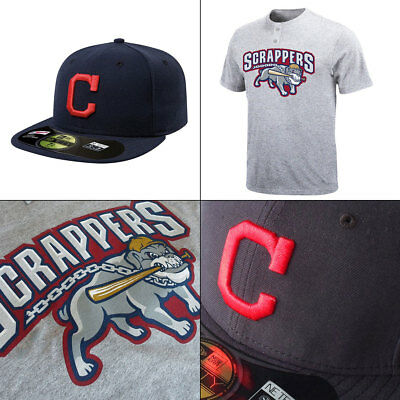 Mahoning Valley Scrappers 2 Button MiLB T shirt + Indians New Era 5950 Cap