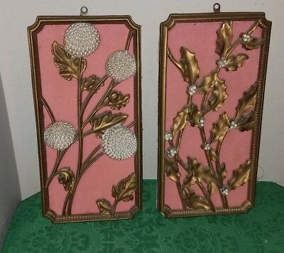 Pair Of Vintage ART DECO Style GOLD w/Pink Background Wall Plaques~Floral/Leaf!