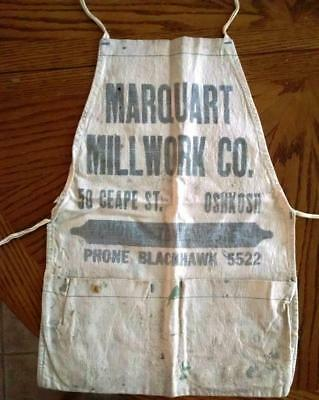 (3) Vintage Canvas Aprons Advertising Roofing, Hardware, Lumber, Coal, Millwork