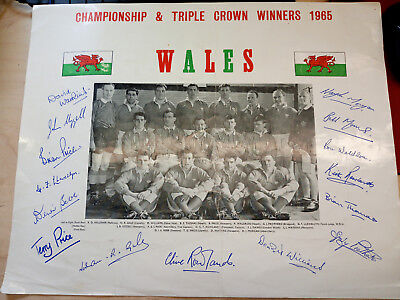 Wales v Ireland 1965 Rugby -Wales Triple Crown photo signed