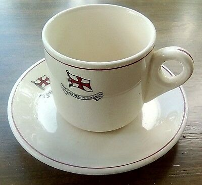 Early The Charente S.s. Ltd. Co. Steamship House Flag Liner Line Cup & Saucer
