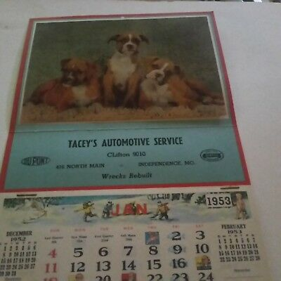 1953 TACEY'S AUTOMOTIVE SERVICE Give Away Wall Calender Cute Boxer Puppies NOS