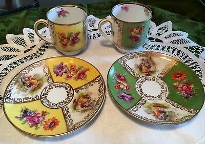 4-pc Schumann Bavaria Germany Demitasse Cups Saucers vintage yellow green Gold