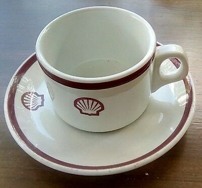Vintage Shell Oil Gas Advertising Cup & Saucer Dunn Bennett Royal Doulton  @@