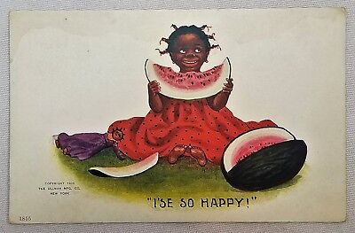 "Black Americana Racist Postcard ""I's So Happy"" Watermelon"