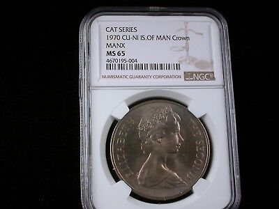 Isle of Man 1970 Crown   NGC graded MS 65    Manx Cat