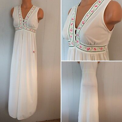 Ivory Nylon VTG 70's Gilead Sleeveless Long Nightgown Sz S 32
