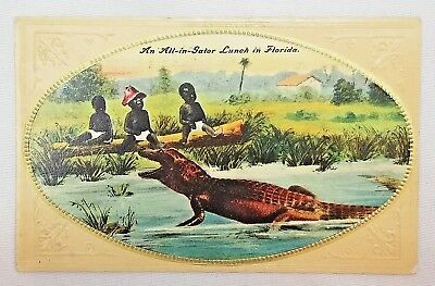 "Black Americana Racist Postcard ""An All-In-Gator Lunch Florida"""