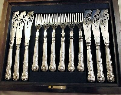 Large 12 Piece Sterling Silver Fish Cutlery Set 1850 Pierced, Cased, Kings Pat.