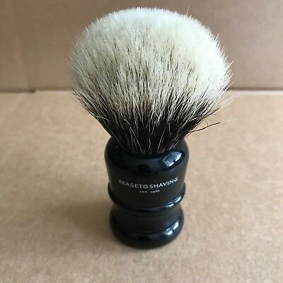 Maseto 24mm Extra Density 2 Band Finest Badger Shaving Brush with black Handle