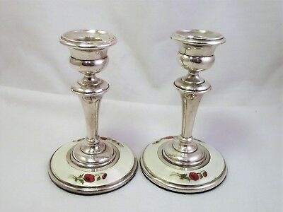 Sterling Silver And Guilloche Enamel Candle Sticks - Birmingham 1912 Perry & Co
