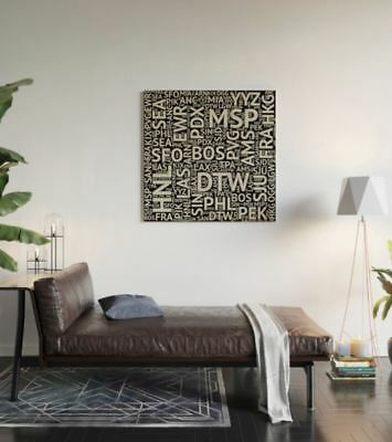 Misc Airport Codes - 3' x 3' Wood Wall Art