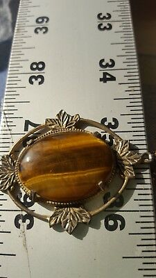 Antique Amber Natural Old Butterscotch Baltic Amber Stone in setting with chain