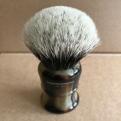 Maseto Shaving 26mm 2 Band Finest Badger Shaving Brush & Classic Horn Handle