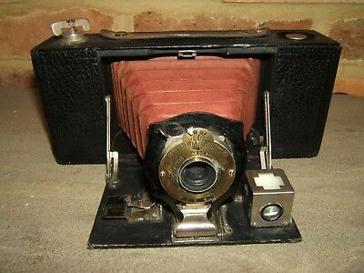 Vintage Brownie No 2 A Folding Pocket Camera Model A With Red Bellows