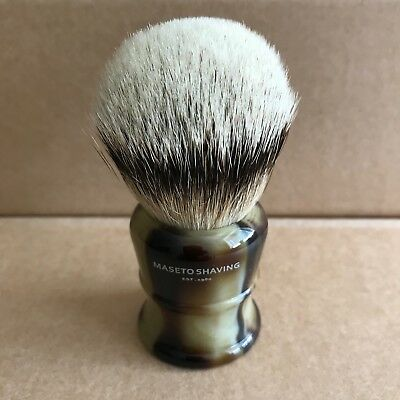 Maseto Shaving 26mm Silvertip Badger Shaving Brush & Classic Horn Handle