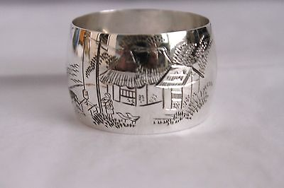 Napkin Ring 950 Pure Higher Than Sterling Content Hand Made Hand Etched Beauty