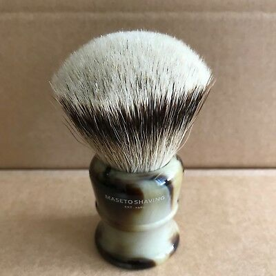 Maseto Shaving 26mm FAN Silvertip Badger Shaving Brush & Classic Horn Handle