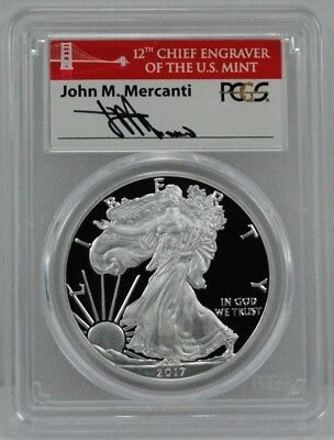 2017-S $1 Silver Eagle Proof Coin PCGS PR69DCAM Mercanti Sig First Day - Pop 200
