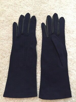 Vintage Navy Fabric Gloves Trimmed With Leather Size 6.5