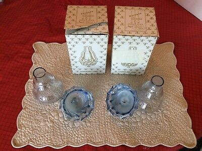 Pair Of Vintage Paragon Blue Candle Peg Lamp By Victrylite