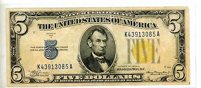 """1934-A  $5 """"North Africa"""" Yellow Seal Note - #3085"""
