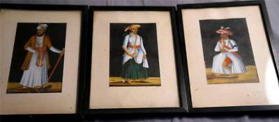 Lot of 3 Fab Antique 19th C Imperial India Miniature Portraits on Micca