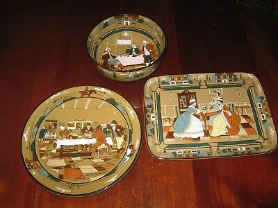 Deldare Ware Buffalo Pottery collection 3 large serving pieces Bowl, Platters