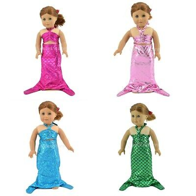 4 Pieces Mermaid Tail Dress For American Girl 18 inch Doll Clothes Costume